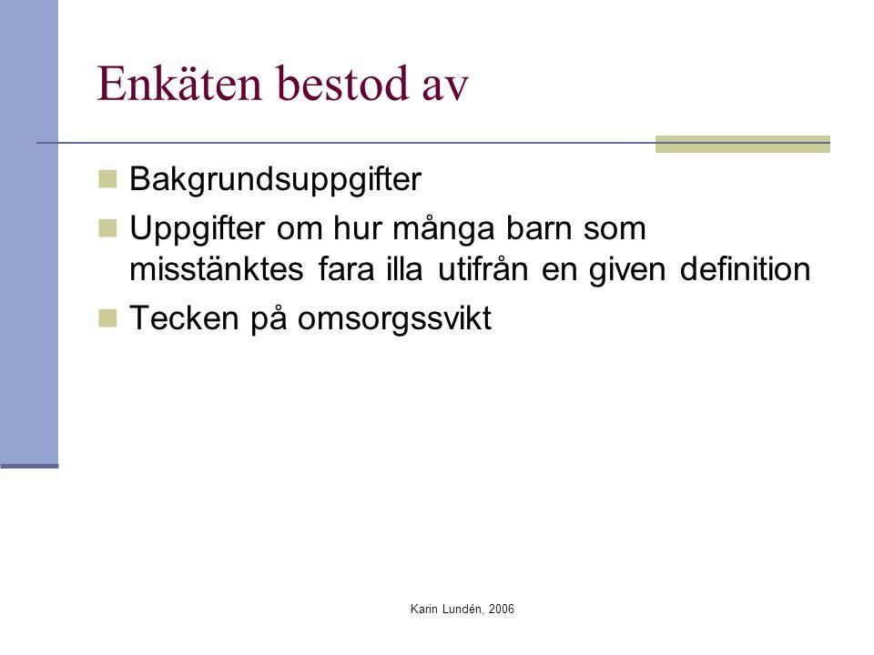 Karin Lundén, 2006 Enkäten bestod av Bakgrundsuppgifter Uppgifter om hur många barn som misstänktes fara illa utifrån en given definition Tecken på omsorgssvikt