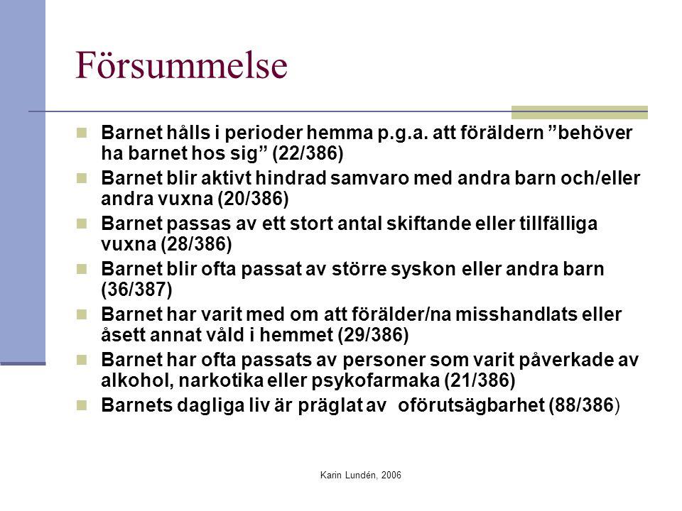 """Karin Lundén, 2006 Försummelse Barnet hålls i perioder hemma p.g.a. att föräldern """"behöver ha barnet hos sig"""" (22/386) Barnet blir aktivt hindrad samv"""