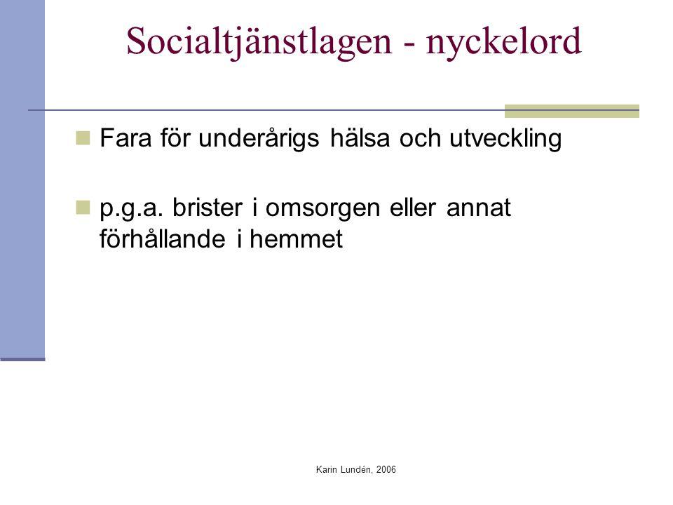 Karin Lundén, 2006 Vilka faktorer kan tänkas bidra till att omsorgssvikt uppmärksammas Daghemmets storlek, personaltäthet Erfarenhet och utbildning Tolkningen av innehållet i anmälnings- skyldigheten Riktlinjer