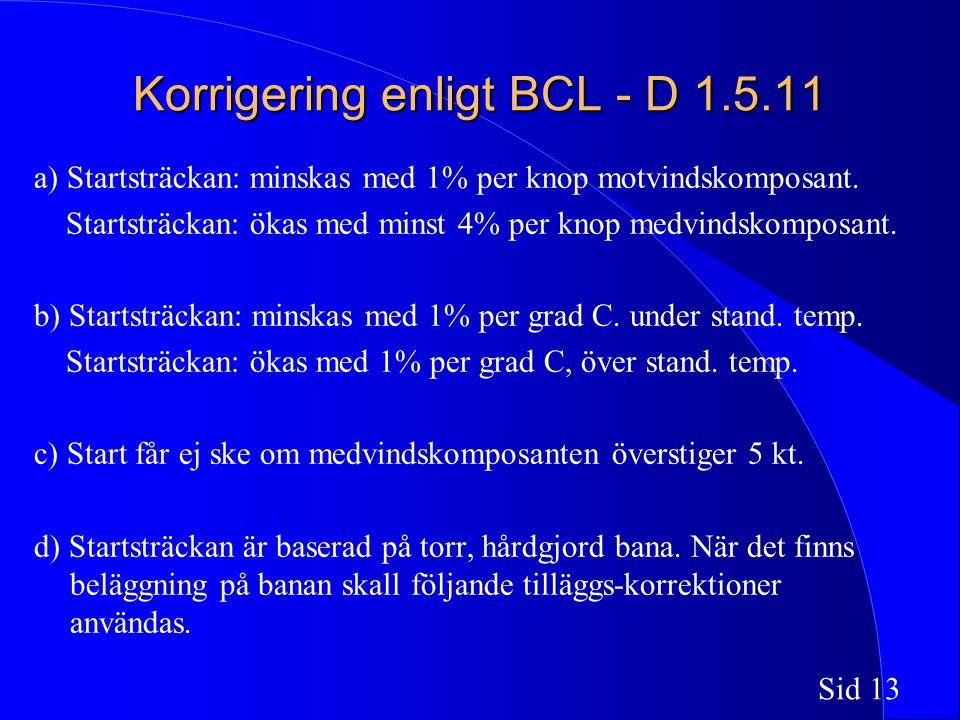 Sid 13 Korrigering enligt BCL - D 1.5.11 a) Startsträckan: minskas med 1% per knop motvindskomposant.