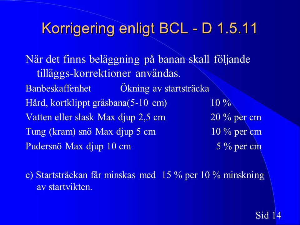 Sid 14 Korrigering enligt BCL - D 1.5.11 När det finns beläggning på banan skall följande tilläggs-korrektioner användas.