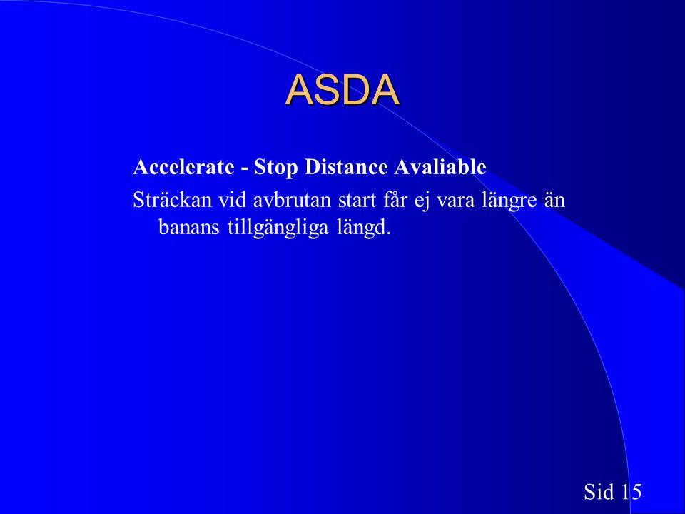 Sid 15 ASDA Accelerate - Stop Distance Avaliable Sträckan vid avbrutan start får ej vara längre än banans tillgängliga längd.