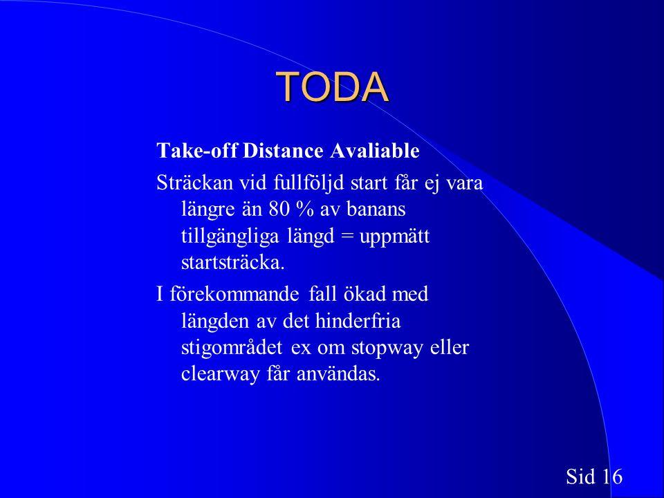 Sid 16 TODA Take-off Distance Avaliable Sträckan vid fullföljd start får ej vara längre än 80 % av banans tillgängliga längd = uppmätt startsträcka.