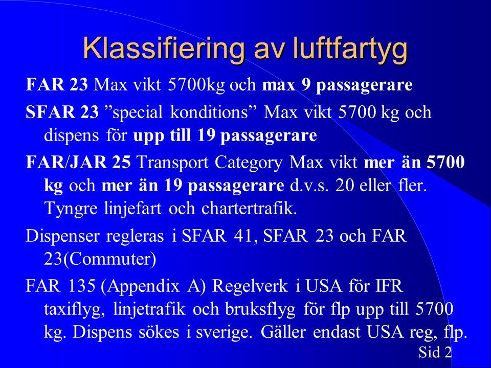 Sid 2 Klassifiering av luftfartyg FAR 23 Max vikt 5700kg och max 9 passagerare SFAR 23 special konditions Max vikt 5700 kg och dispens för upp till 19 passagerare FAR/JAR 25 Transport Category Max vikt mer än 5700 kg och mer än 19 passagerare d.v.s.
