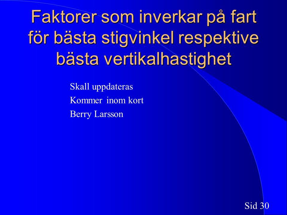 Sid 30 Faktorer som inverkar på fart för bästa stigvinkel respektive bästa vertikalhastighet Skall uppdateras Kommer inom kort Berry Larsson