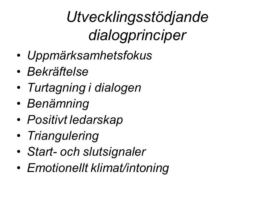 Utvecklingsstödjande dialogprinciper Uppmärksamhetsfokus Bekräftelse Turtagning i dialogen Benämning Positivt ledarskap Triangulering Start- och sluts