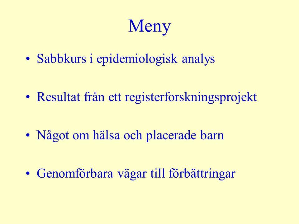 Meny Sabbkurs i epidemiologisk analys Resultat från ett registerforskningsprojekt Något om hälsa och placerade barn Genomförbara vägar till förbättrin