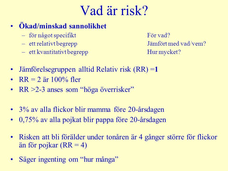 Vad är risk? Ökad/minskad sannolikhet –för något specifikt För vad? –ett relativt begrepp Jämfört med vad/vem? –ett kvantitativt begrepp Hur mycket? J