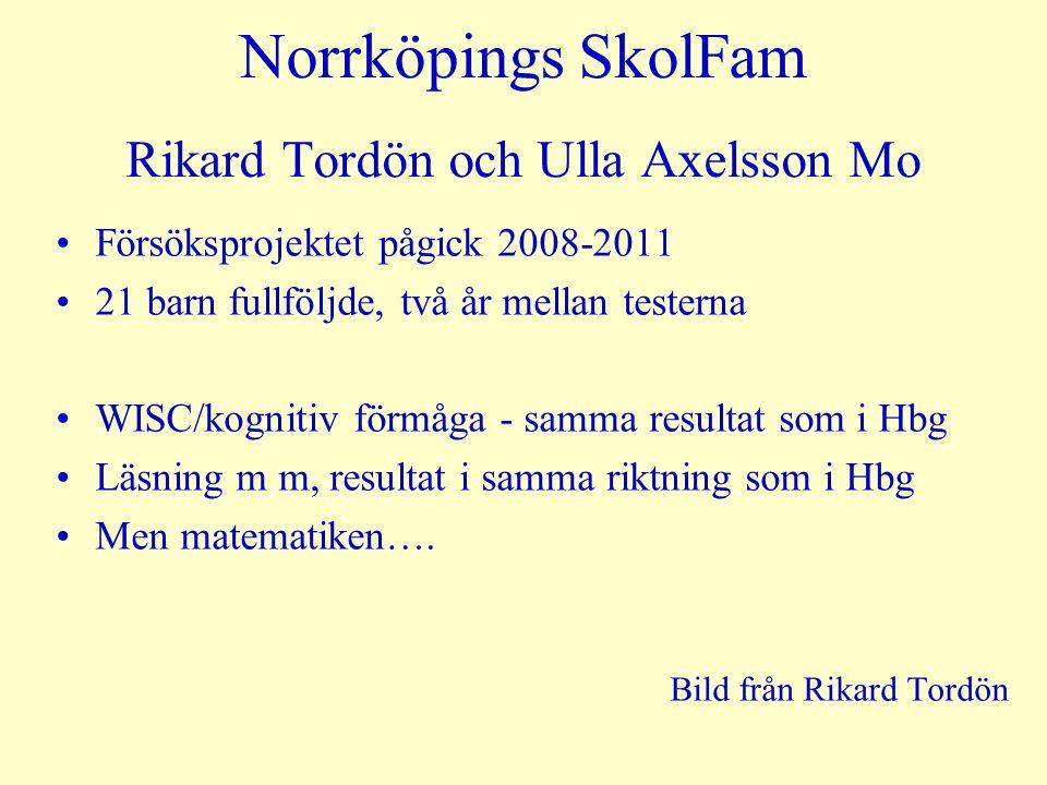 Norrköpings SkolFam Rikard Tordön och Ulla Axelsson Mo Försöksprojektet pågick 2008-2011 21 barn fullföljde, två år mellan testerna WISC/kognitiv förmåga - samma resultat som i Hbg Läsning m m, resultat i samma riktning som i Hbg Men matematiken….
