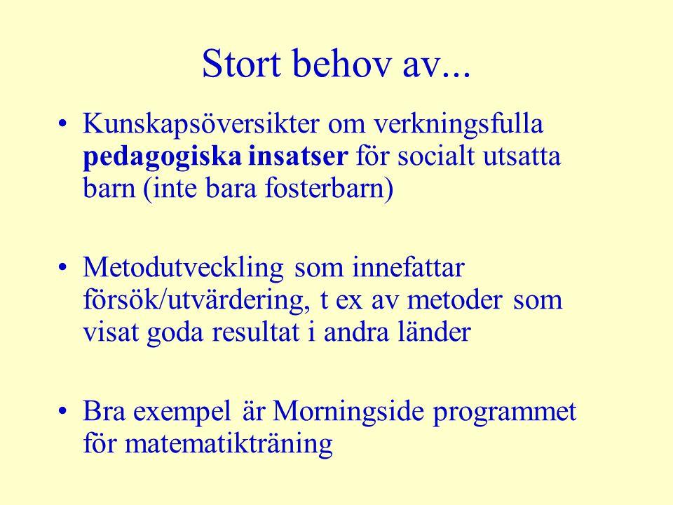 Stort behov av... Kunskapsöversikter om verkningsfulla pedagogiska insatser för socialt utsatta barn (inte bara fosterbarn) Metodutveckling som innefa