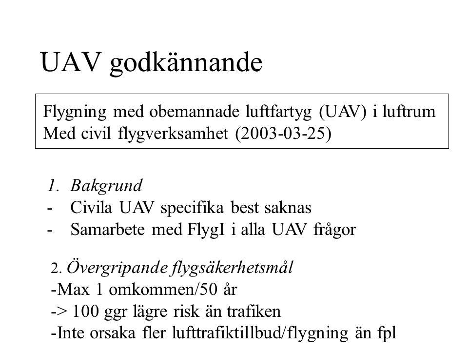 UAV godkännande Flygning med obemannade luftfartyg (UAV) i luftrum Med civil flygverksamhet (2003-03-25) 1.Bakgrund -Civila UAV specifika best saknas -Samarbete med FlygI i alla UAV frågor 2.