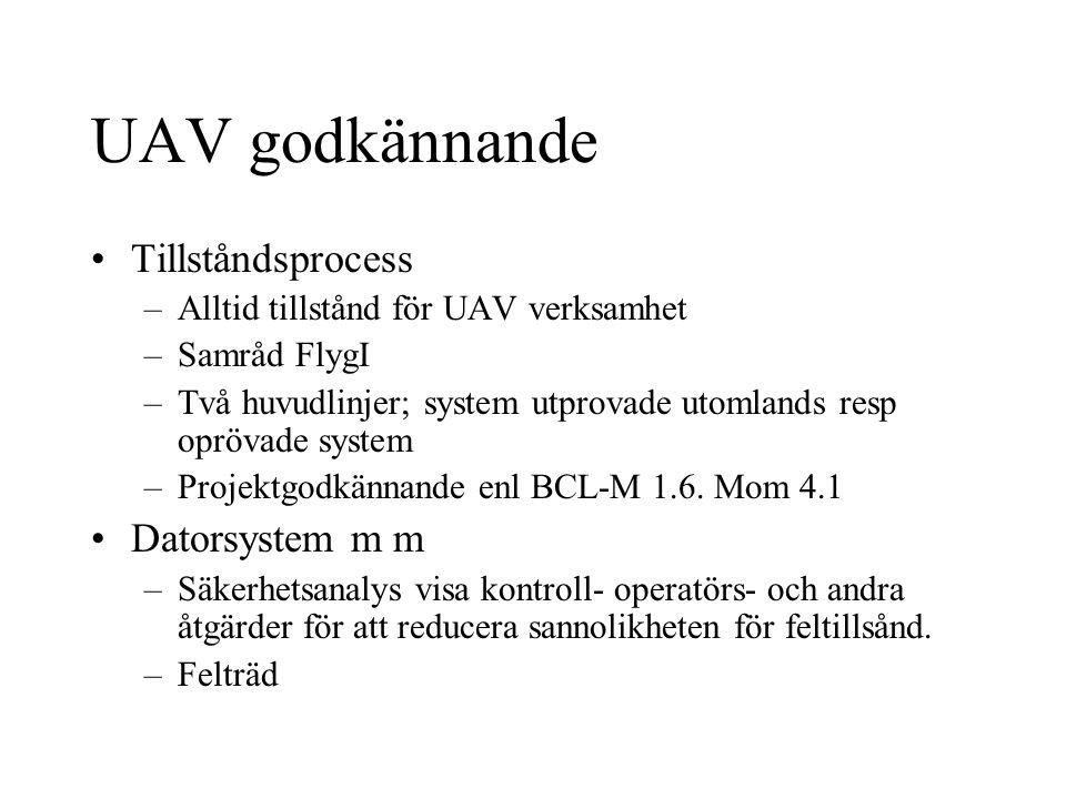 UAV godkännande Tillståndsprocess –Alltid tillstånd för UAV verksamhet –Samråd FlygI –Två huvudlinjer; system utprovade utomlands resp oprövade system –Projektgodkännande enl BCL-M 1.6.