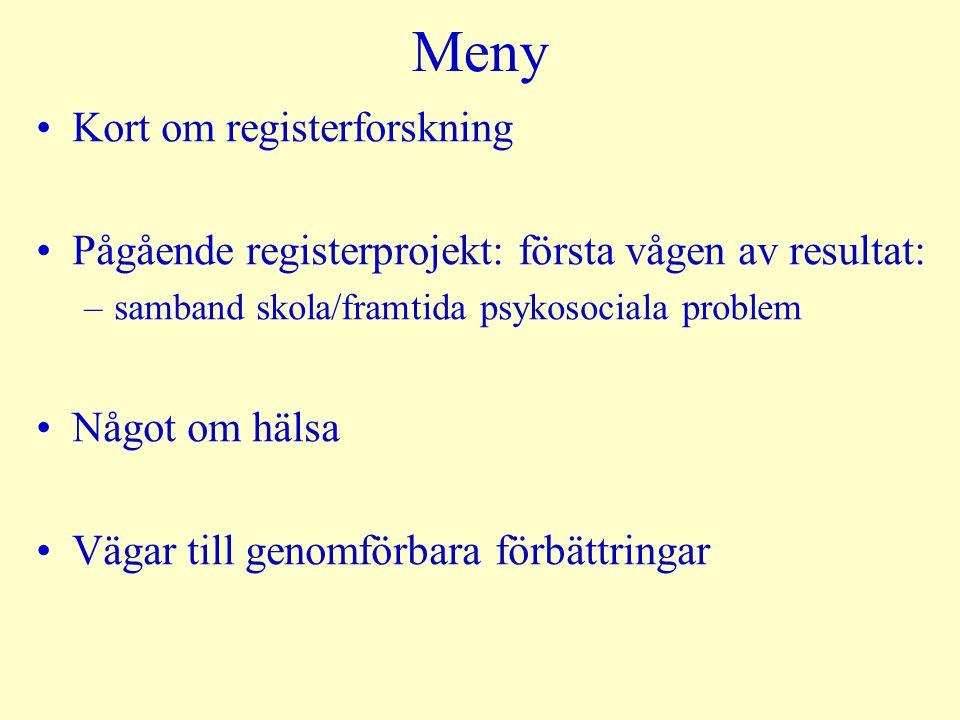 Meny Kort om registerforskning Pågående registerprojekt: första vågen av resultat: –samband skola/framtida psykosociala problem Något om hälsa Vägar t