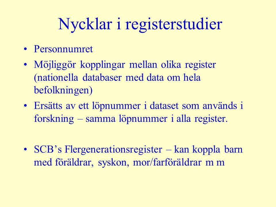 Nycklar i registerstudier Personnumret Möjliggör kopplingar mellan olika register (nationella databaser med data om hela befolkningen) Ersätts av ett