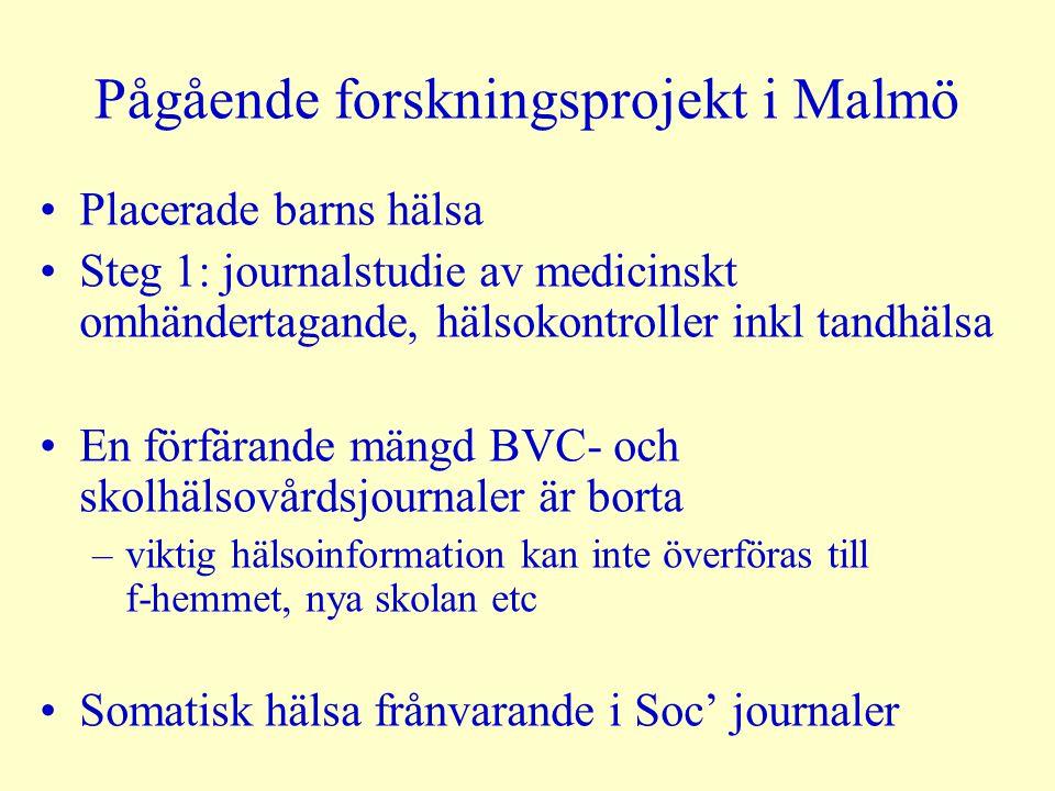 Mycket tyder på...att det medicinska omhändertagandet är bristfälligt för placerade barn...att placerade barn är en högriskgrupp för somatisk ohälsa före, under och efter placeringen samt i vuxen ålder England: obligatorisk årlig hälsoundersökning för alla placerade barn USA: nästan alla placerade barn får en rejäl somatisk och psykiatrisk hälsoundersökning vid placering Sverige: ingenting utöver ordinära hälsokontroller i skola och BVC