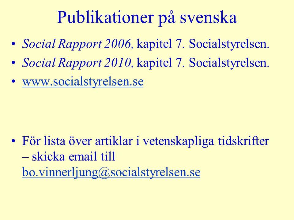 Publikationer på svenska Social Rapport 2006, kapitel 7. Socialstyrelsen. Social Rapport 2010, kapitel 7. Socialstyrelsen. www.socialstyrelsen.se För