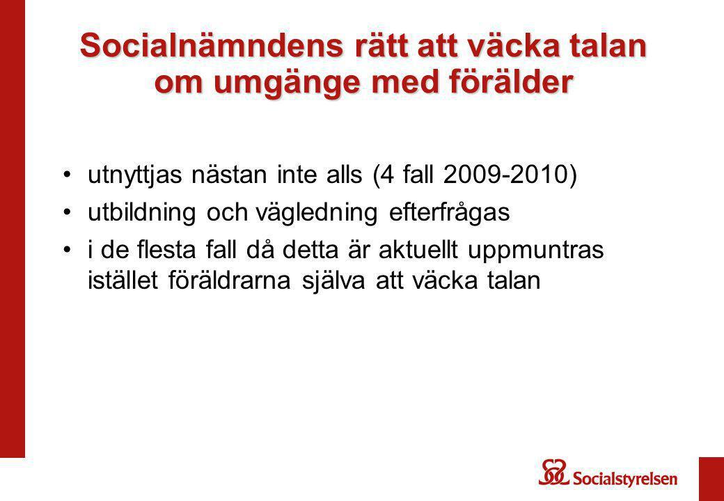 Socialnämndens rätt att väcka talan om umgänge med förälder utnyttjas nästan inte alls (4 fall 2009-2010) utbildning och vägledning efterfrågas i de f