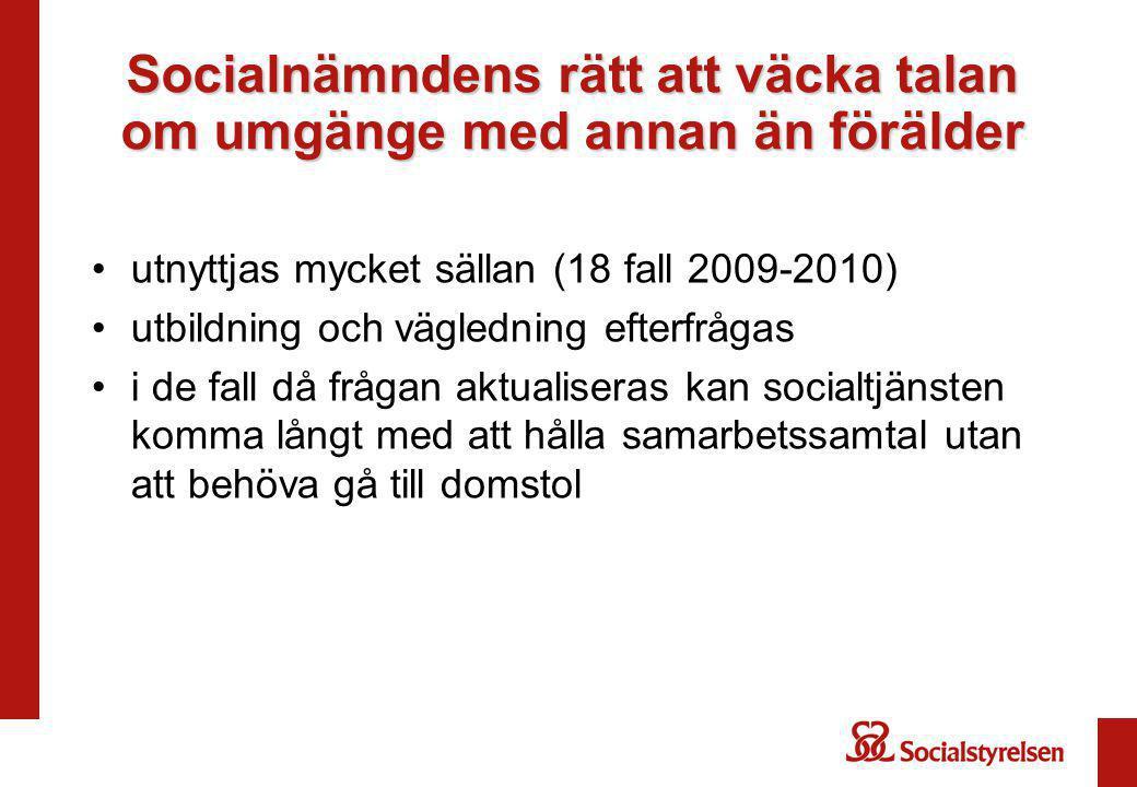 Socialnämndens rätt att väcka talan om umgänge med annan än förälder utnyttjas mycket sällan (18 fall 2009-2010) utbildning och vägledning efterfrågas