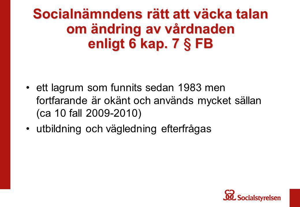 Socialnämndens rätt att väcka talan om ändring av vårdnaden enligt 6 kap. 7 § FB ett lagrum som funnits sedan 1983 men fortfarande är okänt och använd