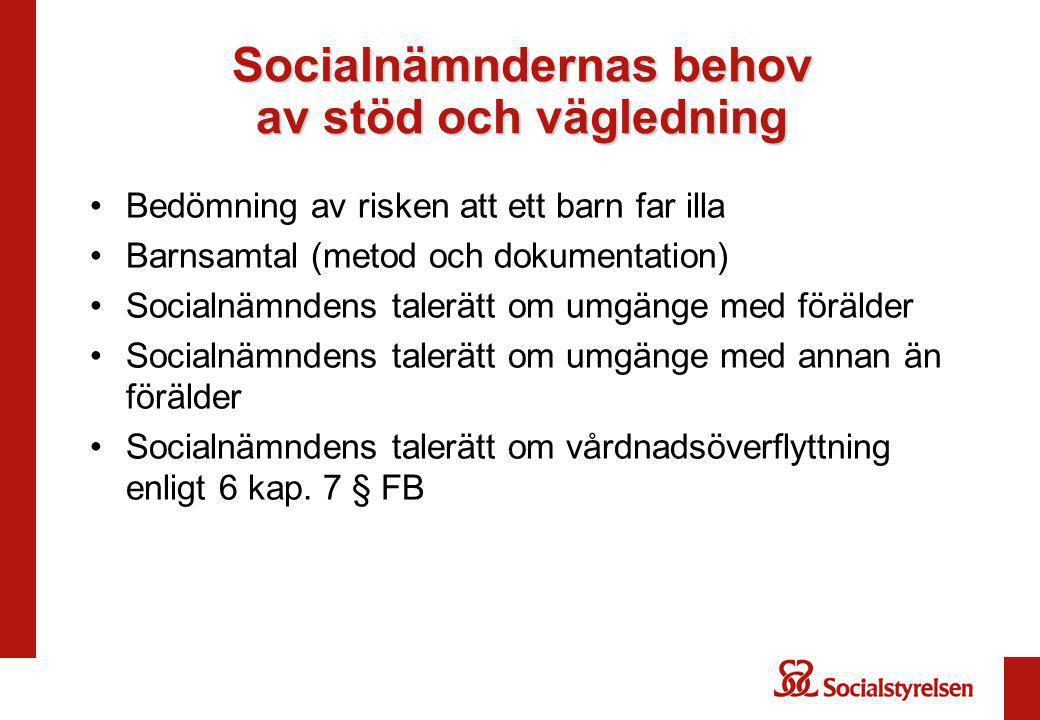 Socialnämndernas behov av stöd och vägledning Bedömning av risken att ett barn far illa Barnsamtal (metod och dokumentation) Socialnämndens talerätt o
