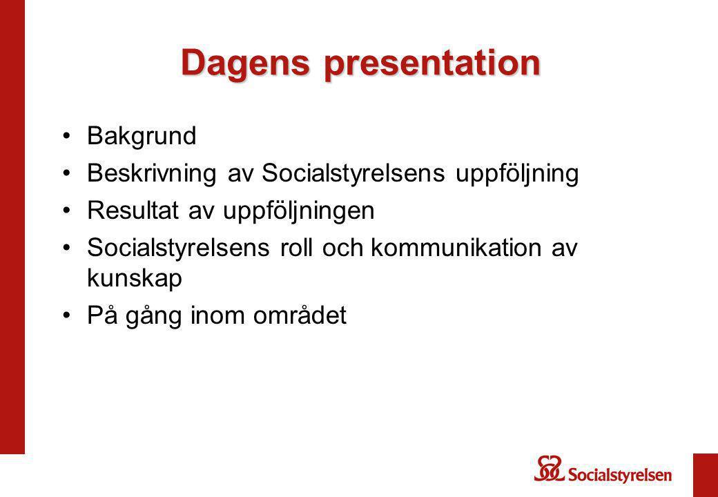 Dagens presentation Bakgrund Beskrivning av Socialstyrelsens uppföljning Resultat av uppföljningen Socialstyrelsens roll och kommunikation av kunskap På gång inom området