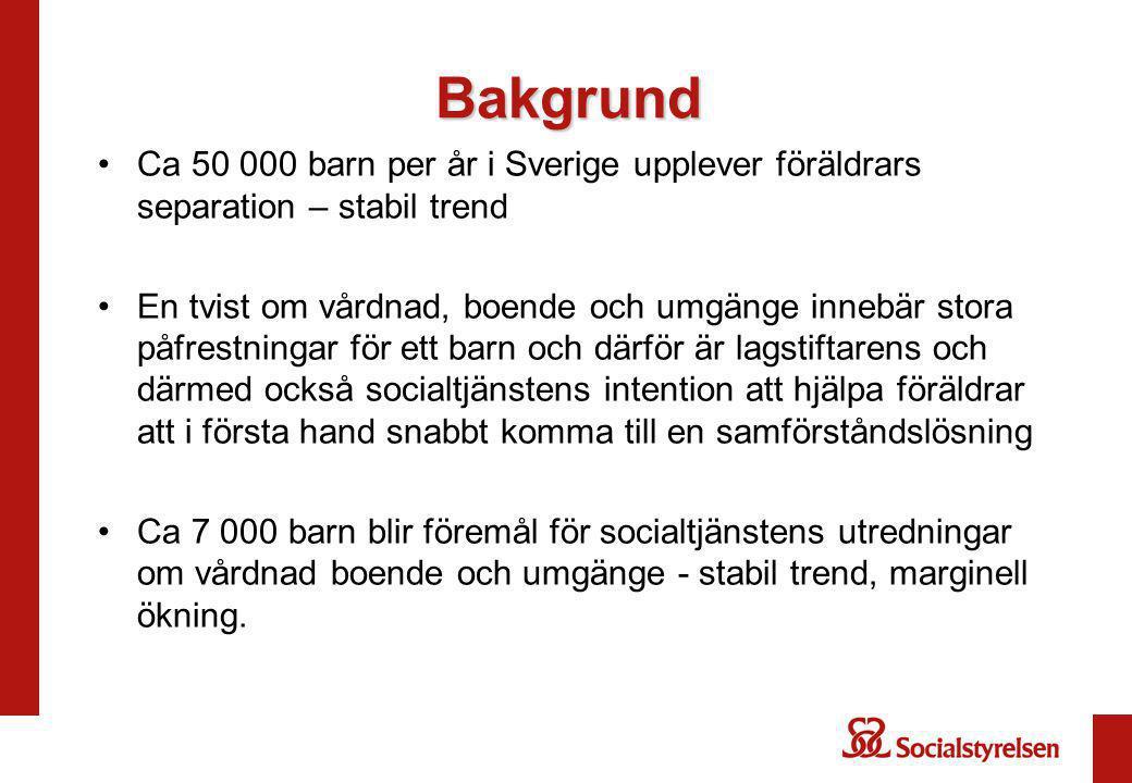 Bakgrund Ca 50 000 barn per år i Sverige upplever föräldrars separation – stabil trend En tvist om vårdnad, boende och umgänge innebär stora påfrestni