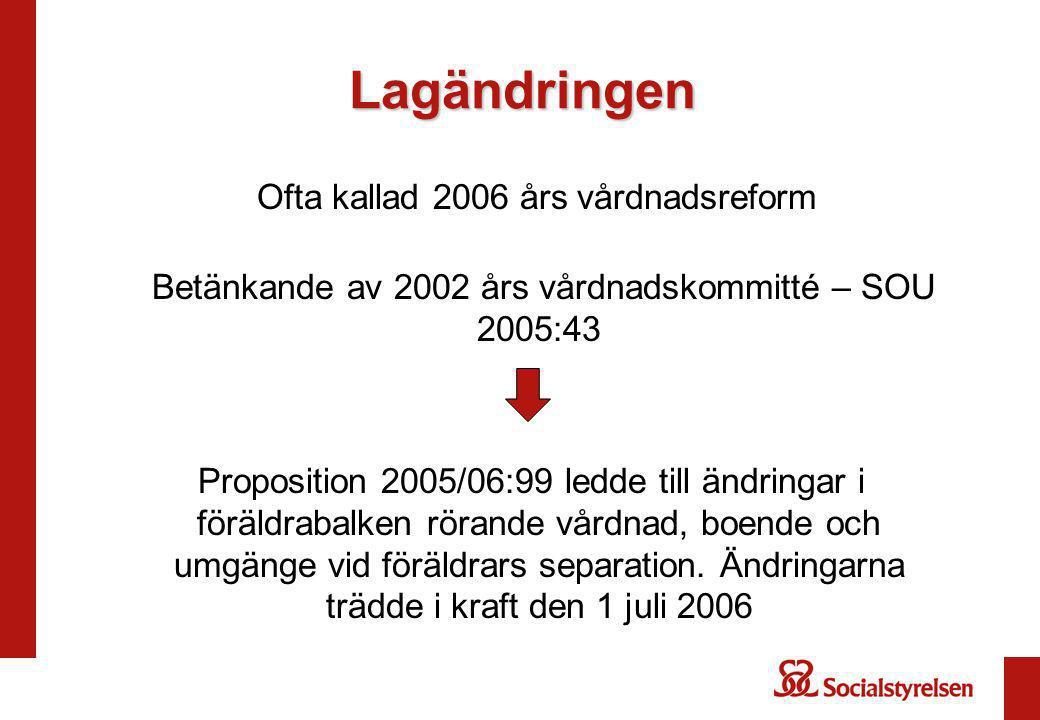 Lagändringen Ofta kallad 2006 års vårdnadsreform Betänkande av 2002 års vårdnadskommitté – SOU 2005:43 Proposition 2005/06:99 ledde till ändringar i föräldrabalken rörande vårdnad, boende och umgänge vid föräldrars separation.