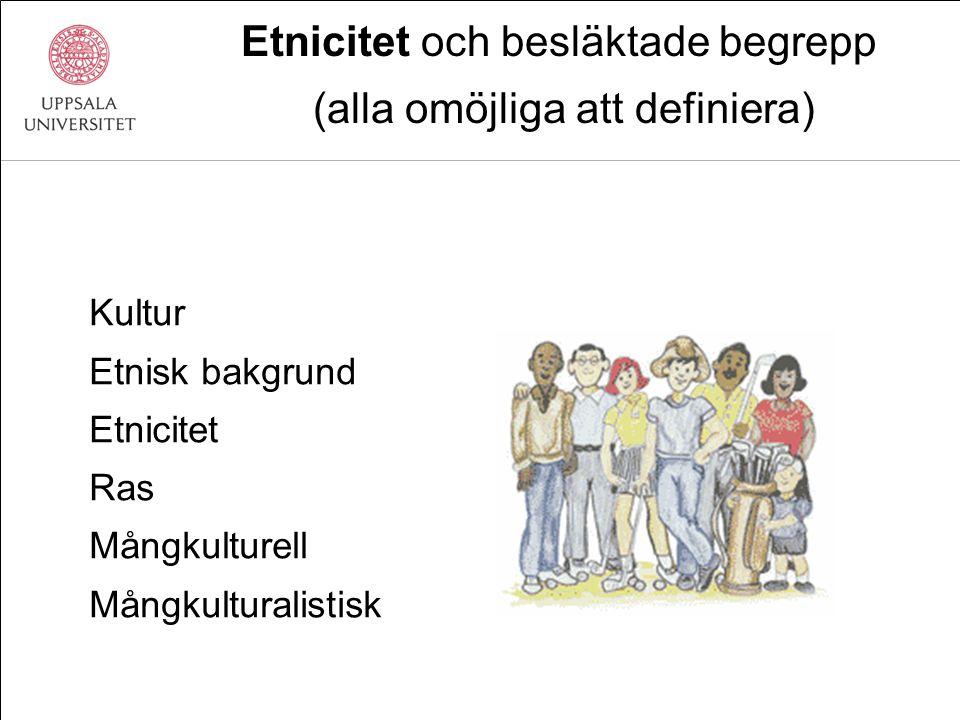 Etnicitet och besläktade begrepp (alla omöjliga att definiera) Kultur Etnisk bakgrund Etnicitet Ras Mångkulturell Mångkulturalistisk