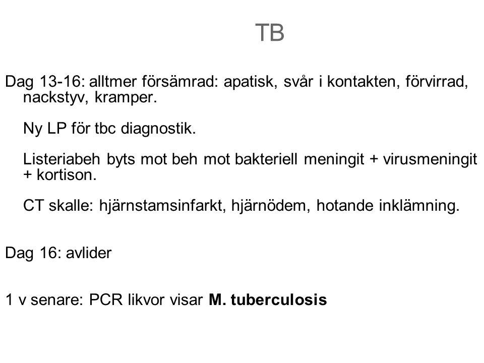 TB Dag 13-16: alltmer försämrad: apatisk, svår i kontakten, förvirrad, nackstyv, kramper. Ny LP för tbc diagnostik. Listeriabeh byts mot beh mot bakte