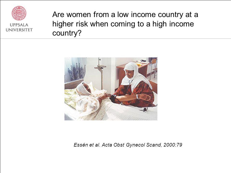 Kvinnor fr låginkomstländer högre risk: Infektionssjukdomar: RR 15.0 (CI 10.8-20.7) Graviditetsrelaterade sjukdomar: RR 6.6 (CI 2.6 -16.5) Esscher, Högberg, Haglund, Essén.