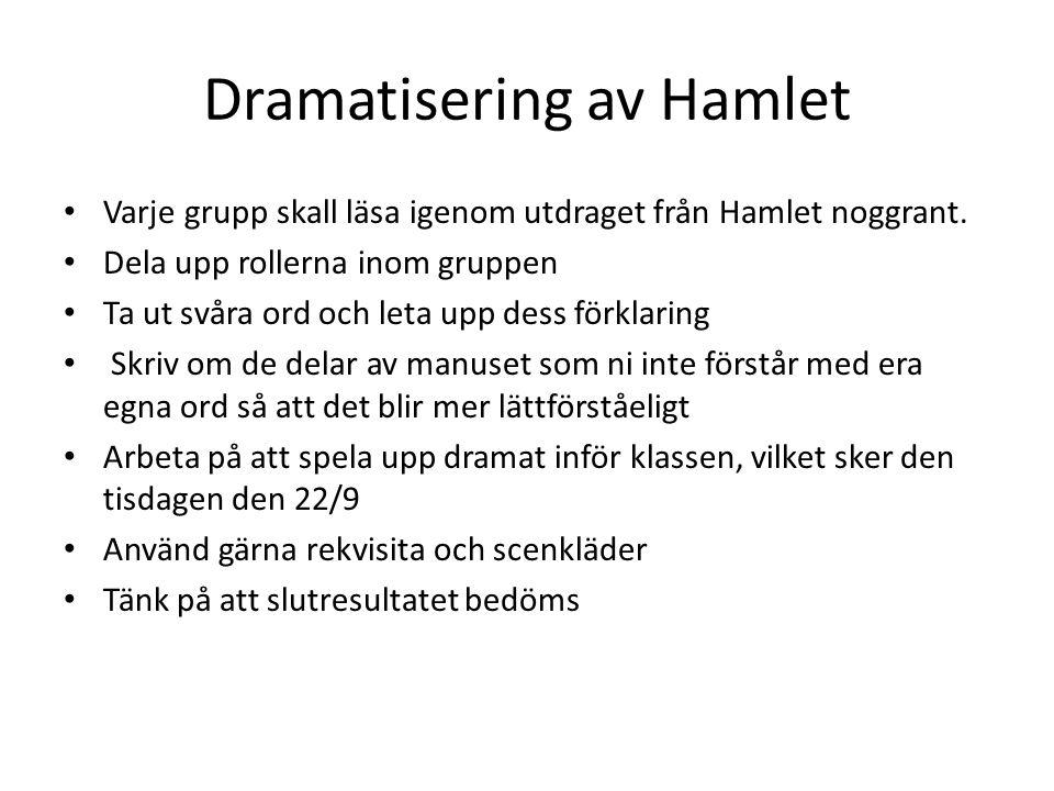 Dramatisering av Hamlet Varje grupp skall läsa igenom utdraget från Hamlet noggrant. Dela upp rollerna inom gruppen Ta ut svåra ord och leta upp dess
