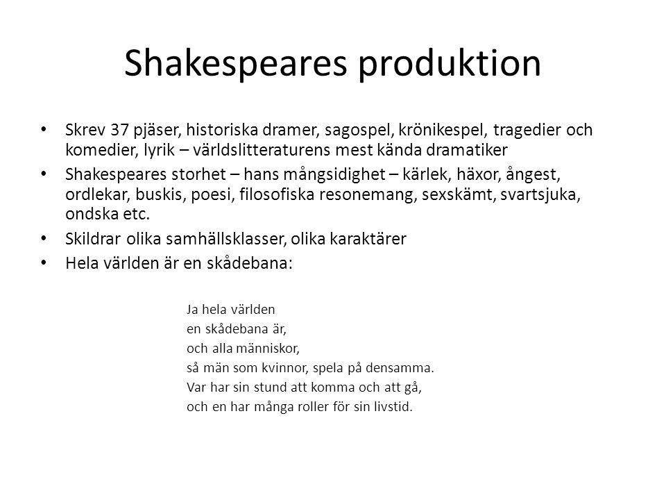 Shakespeares produktion Skrev 37 pjäser, historiska dramer, sagospel, krönikespel, tragedier och komedier, lyrik – världslitteraturens mest kända dram