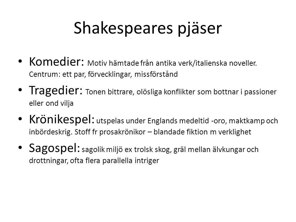 Shakespeares pjäser Komedier: Motiv hämtade från antika verk/italienska noveller. Centrum: ett par, förvecklingar, missförstånd Tragedier: Tonen bittr