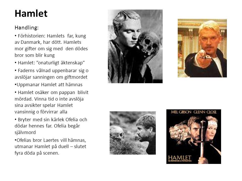 """Hamlet Handling: Förhistorien: Hamlets far, kung av Danmark, har dött. Hamlets mor gifter om sig med den dödes bror som blir kung Hamlet: """"onaturligt"""