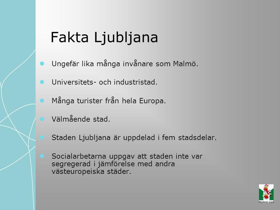 Fakta Ljubljana Ungefär lika många invånare som Malmö. Universitets- och industristad. Många turister från hela Europa. Välmående stad. Staden Ljublja