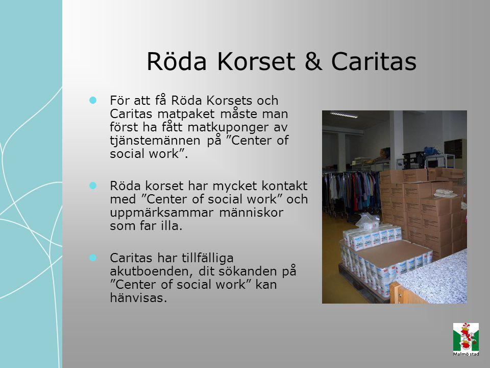 """Röda Korset & Caritas För att få Röda Korsets och Caritas matpaket måste man först ha fått matkuponger av tjänstemännen på """"Center of social work"""". Rö"""