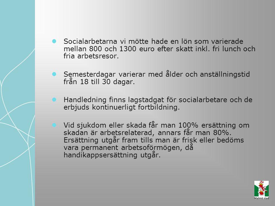Socialarbetarna vi mötte hade en lön som varierade mellan 800 och 1300 euro efter skatt inkl. fri lunch och fria arbetsresor. Semesterdagar varierar m