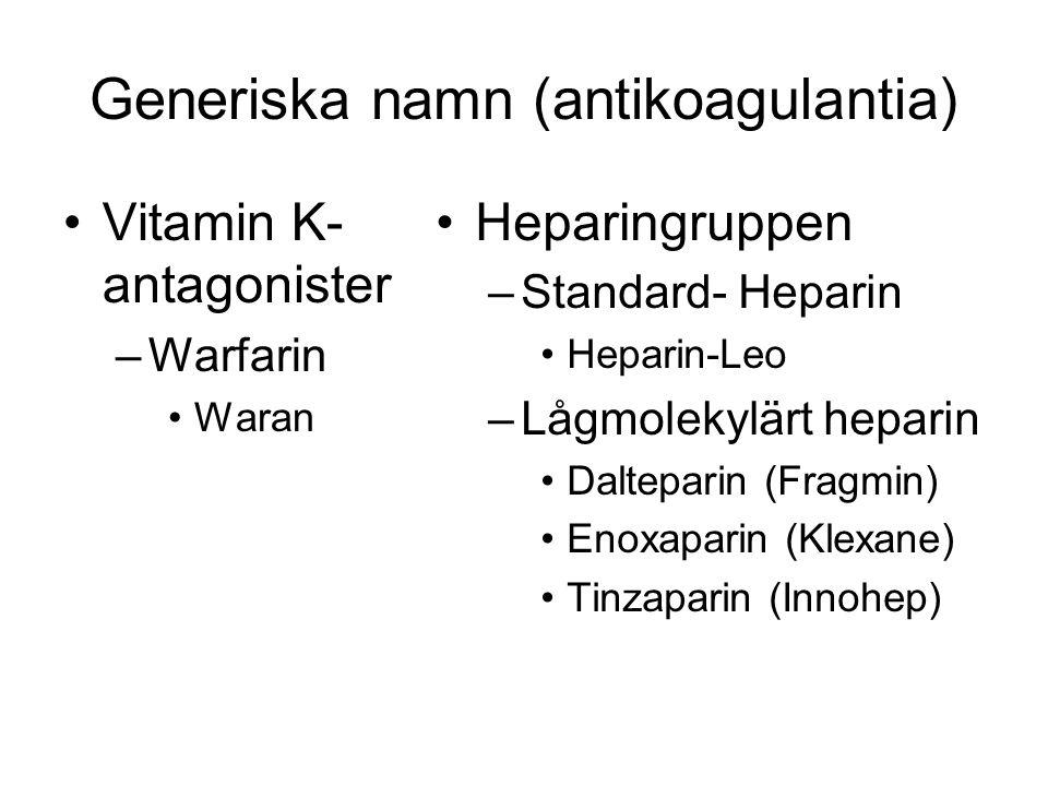 Generiska namn (antikoagulantia) Vitamin K- antagonister –Warfarin Waran Heparingruppen –Standard- Heparin Heparin-Leo –Lågmolekylärt heparin Dalteparin (Fragmin) Enoxaparin (Klexane) Tinzaparin (Innohep)
