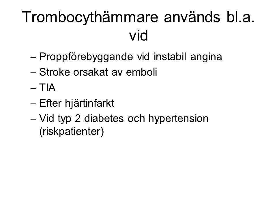 Trombocythämmare används bl.a.