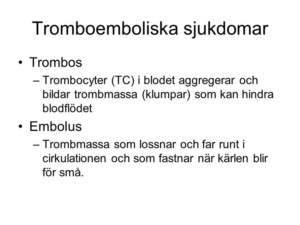 Tromboemboliska sjukdomar Trombos –Trombocyter (TC) i blodet aggregerar och bildar trombmassa (klumpar) som kan hindra blodflödet Embolus –Trombmassa som lossnar och far runt i cirkulationen och som fastnar när kärlen blir för små.