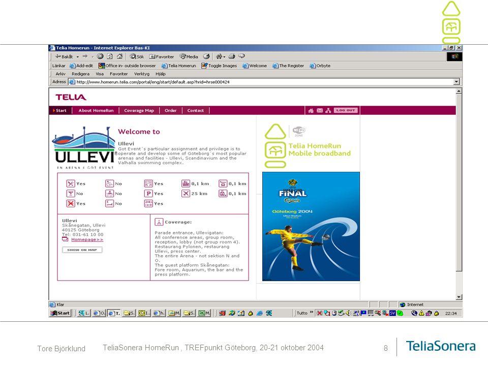 Tore Björklund TeliaSonera HomeRun, TREFpunkt Göteborg, 20-21 oktober 2004 9 HomeRun Footprint Approx.