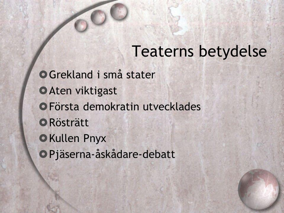 Teaterns betydelse  Grekland i små stater  Aten viktigast  Första demokratin utvecklades  Rösträtt  Kullen Pnyx  Pjäserna-åskådare-debatt
