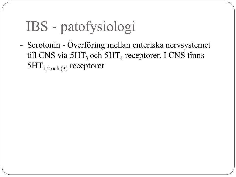 IBS - patofysiologi - Serotonin - Överföring mellan enteriska nervsystemet till CNS via 5HT 3 och 5HT 4 receptorer. I CNS finns 5HT 1,2 och (3) recept