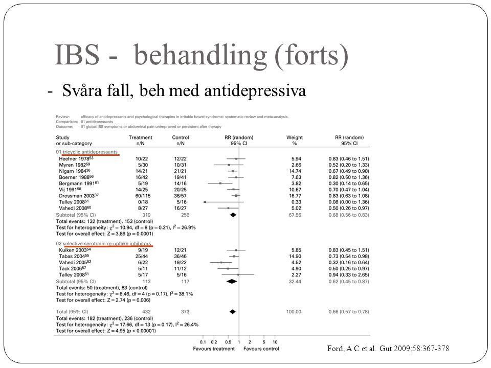 IBS - behandling (forts) - Svåra fall, beh med antidepressiva Ford, A C et al. Gut 2009;58:367-378
