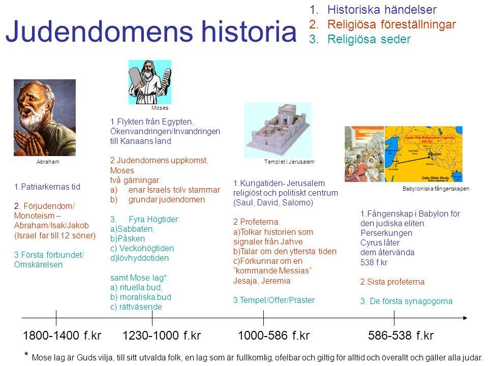 Judendomens historia 1.Historiska händelser 2.Religiösa föreställningar 3.Religiösa seder 1800-1400 f.kr1230-1000 f.kr1000-586 f.kr586-538 f.kr 1.Patr