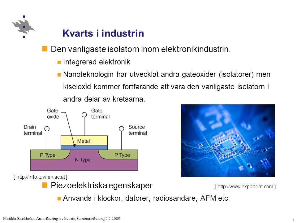 7 Matilda Backholm, Amorfisering av kvarts, Seminarieövning 2.2 2009 Kvarts i industrin Den vanligaste isolatorn inom elektronikindustrin.