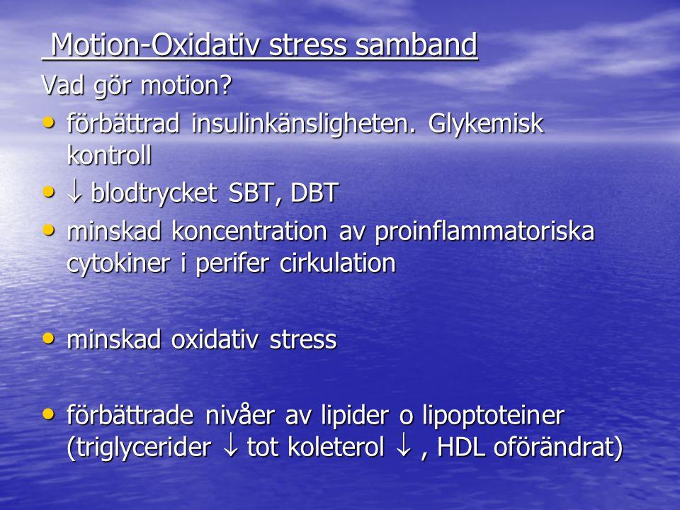 Motion-Oxidativ stress samband Motion-Oxidativ stress samband Vad gör motion? förbättrad insulinkänsligheten. Glykemisk kontroll förbättrad insulinkän