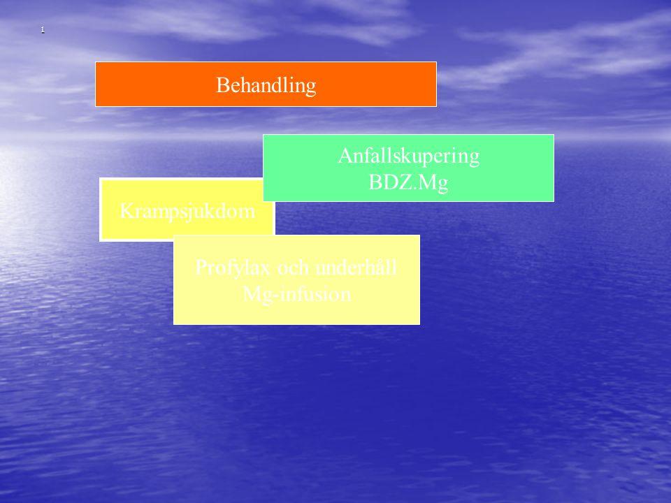 1 Behandling Krampsjukdom Anfallskupering BDZ.Mg Profylax och underhåll Mg-infusion