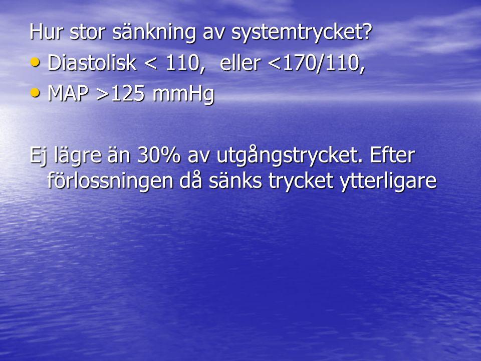 Hur stor sänkning av systemtrycket? Diastolisk < 110, eller <170/110, Diastolisk < 110, eller <170/110, MAP >125 mmHg MAP >125 mmHg Ej lägre än 30% av