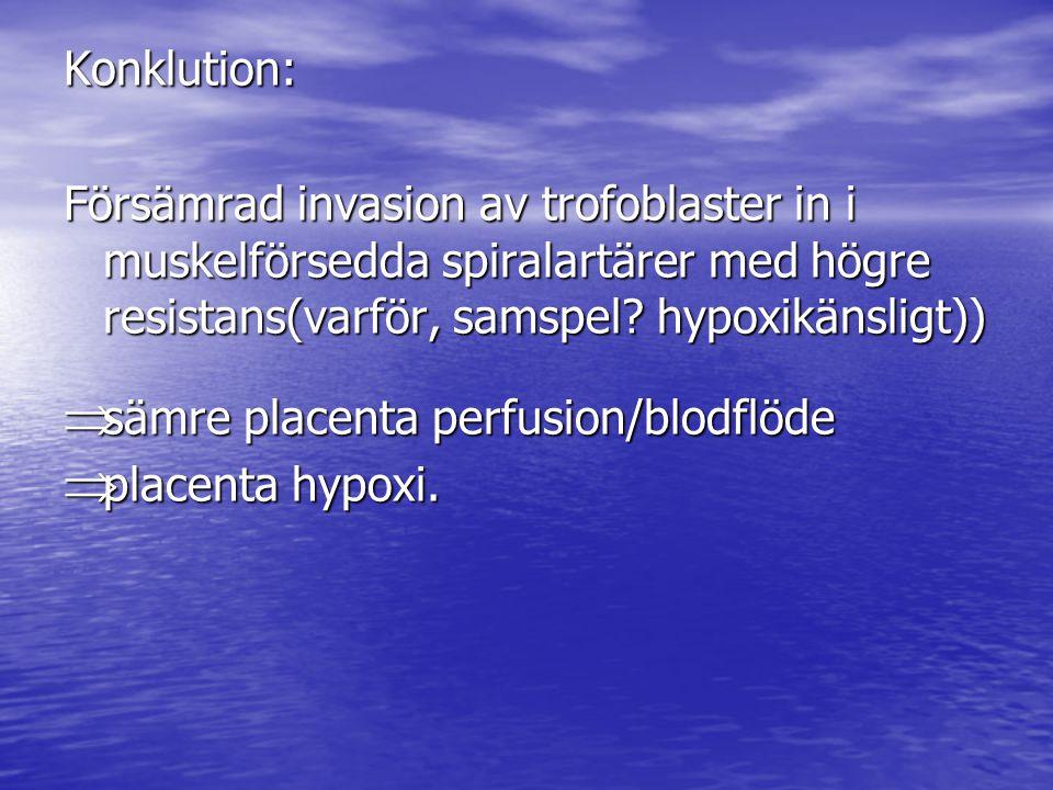 Konklution: Försämrad invasion av trofoblaster in i muskelförsedda spiralartärer med högre resistans(varför, samspel.